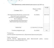 План финансово-хозяйственной деятельности на 2015 год