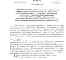 Приказ о внесении изменений в приказ  о функционировании групп общеразвивающей и компенсирующей направленности